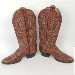 Tony Lama Womens 8.5 D Brown Leather Pull On Boots
